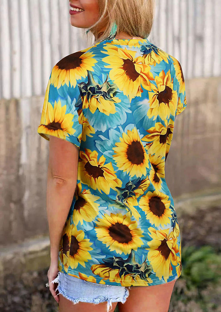 Sunflower Short Sleeve O-Neck T-Shirt Tee