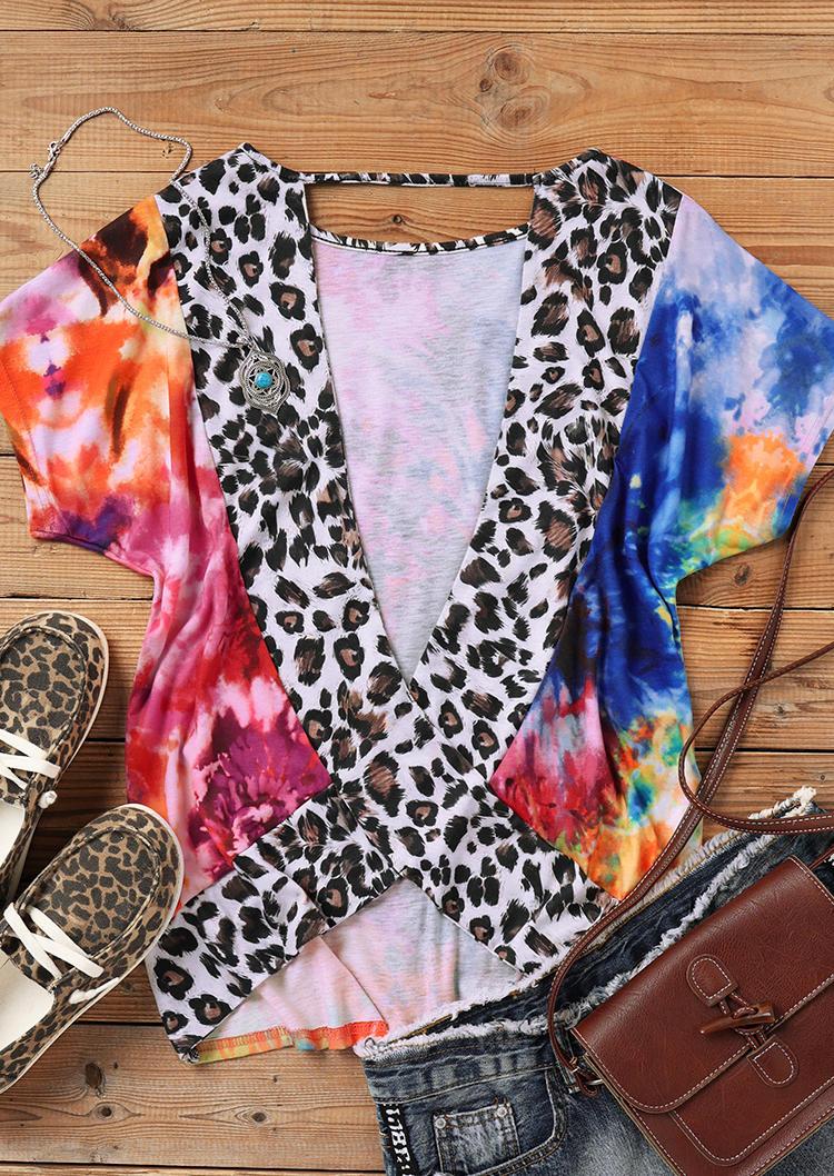 Tie Dye Leopard Open Back Blouse