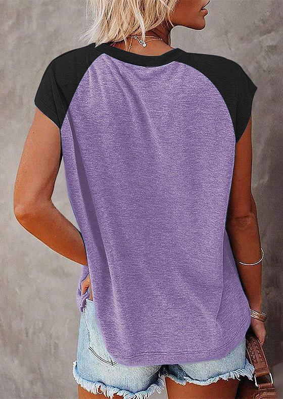Color Block Pocket Raglan Sleeve T-Shirt Tee - Light Purple