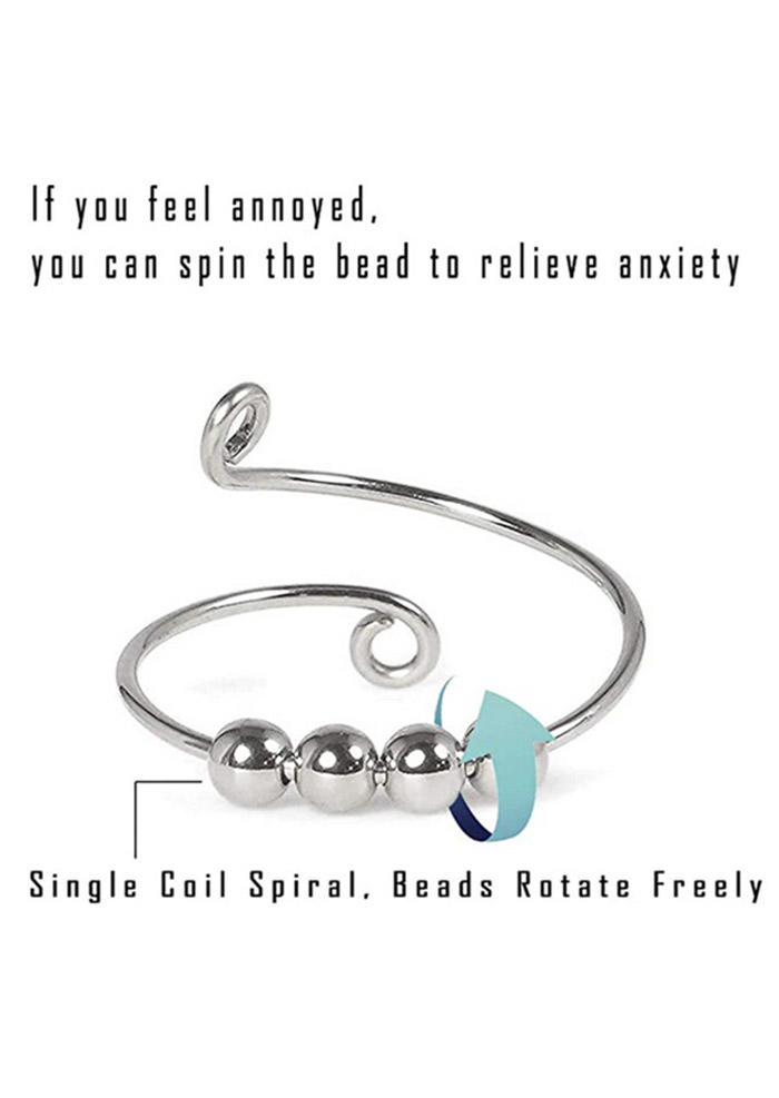 Anti Stress Anxiety Spinner Beading Open Adjustable Alloy Ring