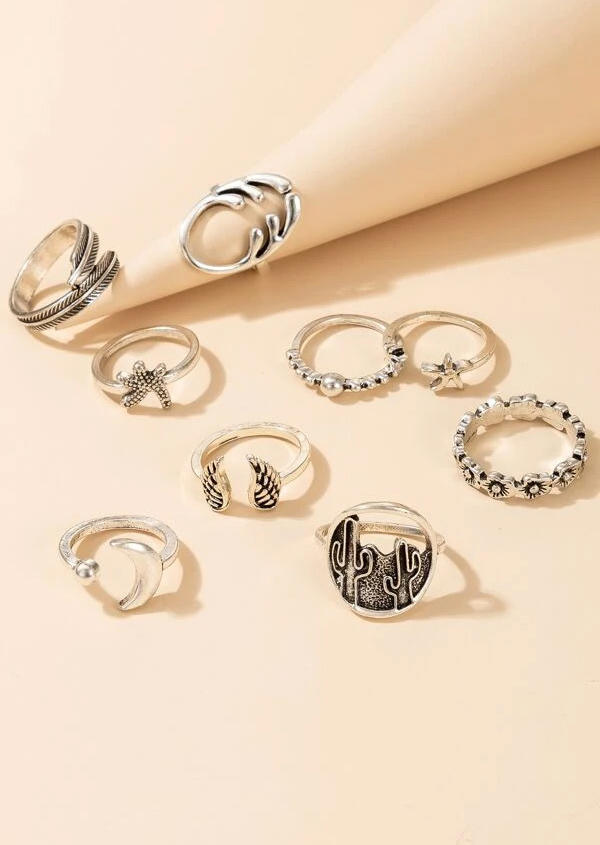 9Pcs Vintage Cactus Starfish Wing Moon Open Mouth Ring Set