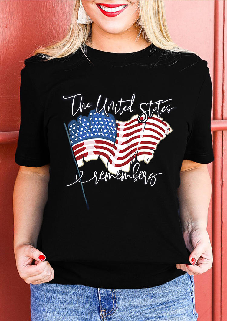 American Flag The United States Remembers T-Shirt Tee - Black