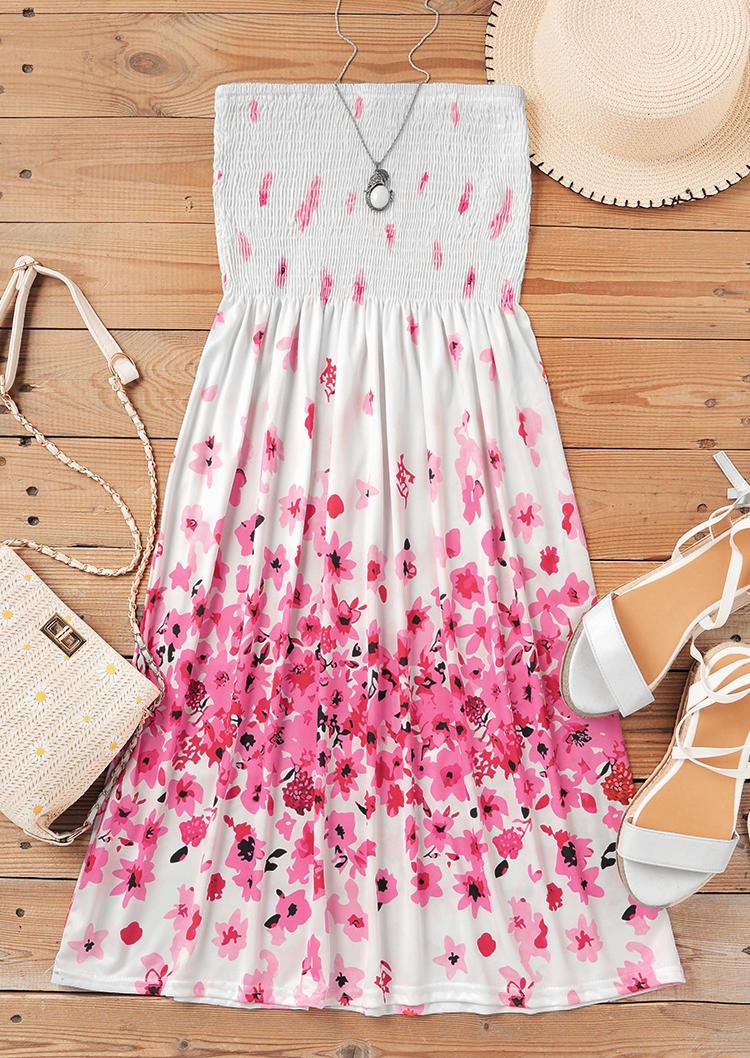 Floral Smocked Strapless Ruffled Mini Dress - White