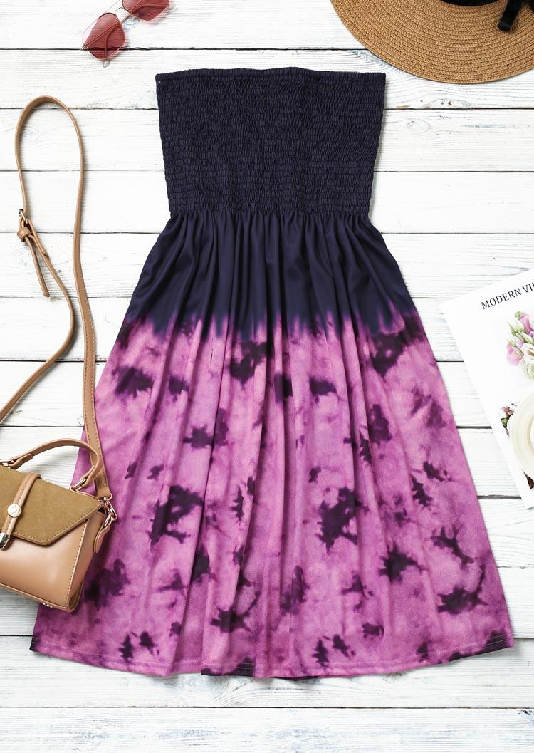 Tie Dye Smocked Strapless Ruffled Mini Dress - Purple