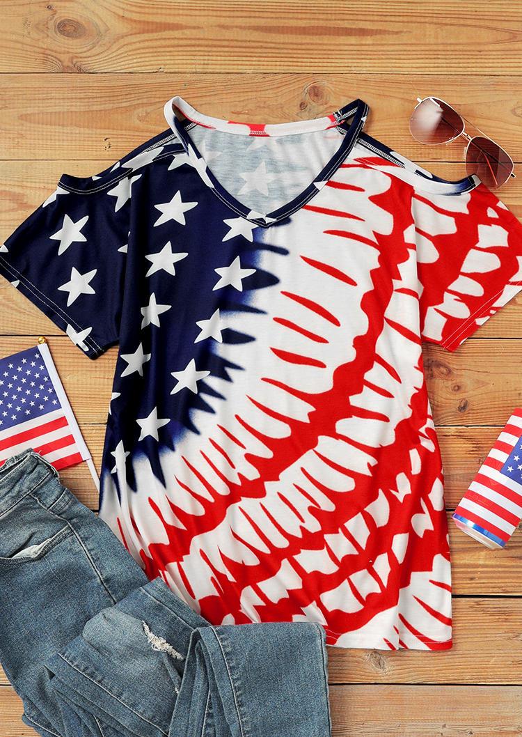American Flag Star Striped Cold Shoulder Blouse