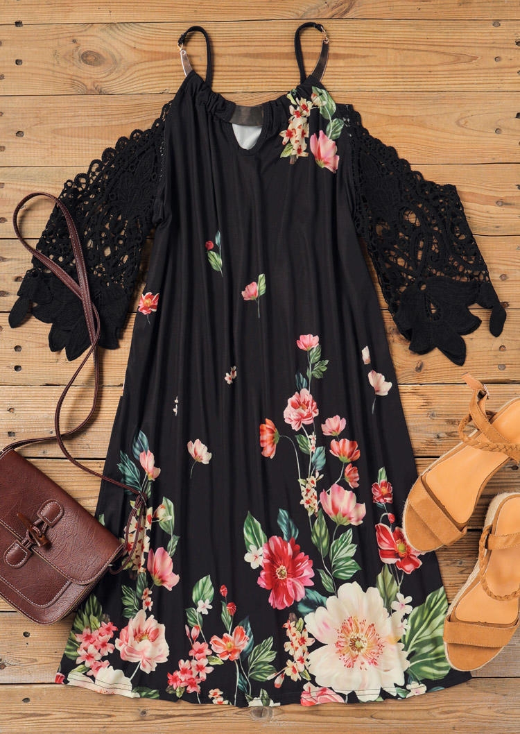 Lace Splicing Floral Hollow Out Mini Dress - Black