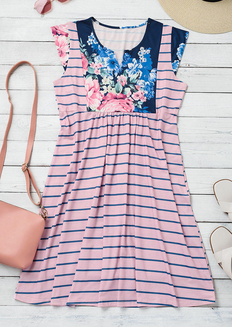 Floral Striped Ruffled Notched Neck Mini Dress