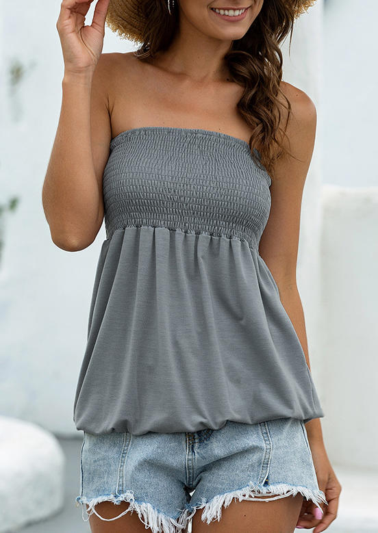 Ruched Strapless Stretchy Blouse - Gray