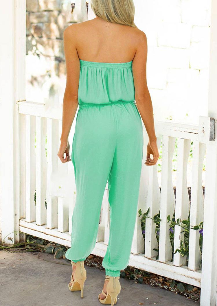 Strapless Elastic Waist Drawstring Pocket Jumpsuit - Light Green