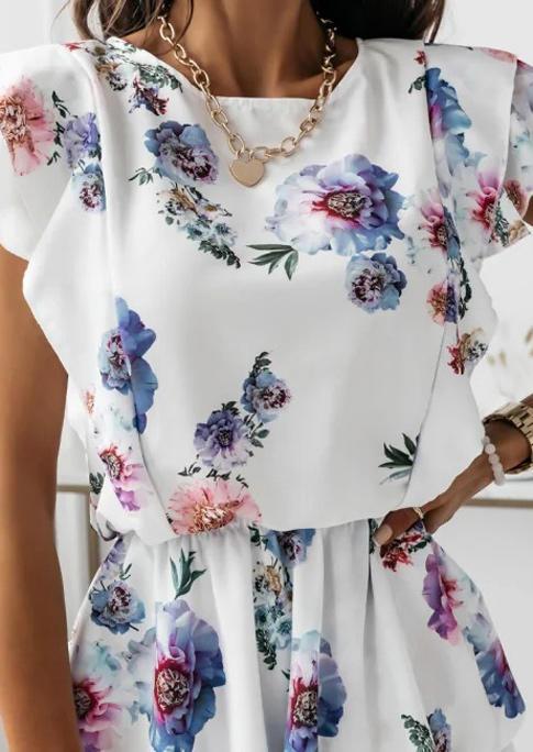 Floral Layered Elastic Waist Mini Dress - White