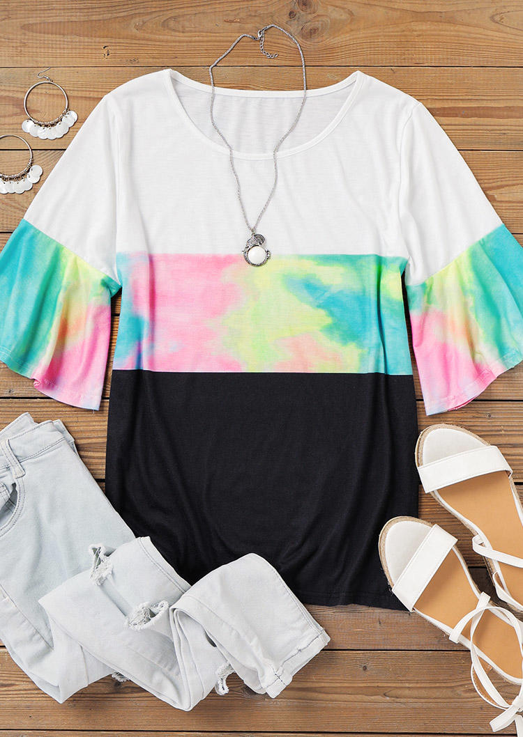 Tie Dye Color Block Flare Sleeve Blouse