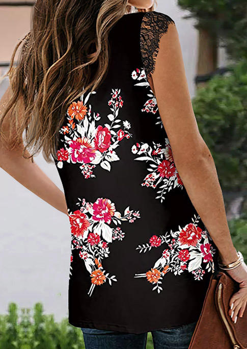 Floral Lace Splicing V-Neck Slit Blouse - Black