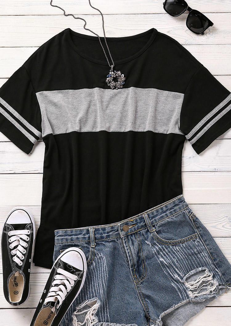 Color Block O-Neck T-Shirt Tee - Black
