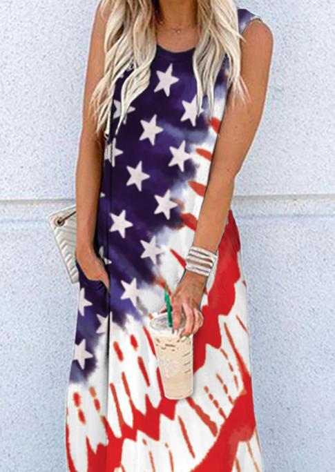 American Flag Star Pocket Sleeveless Maxi Dress