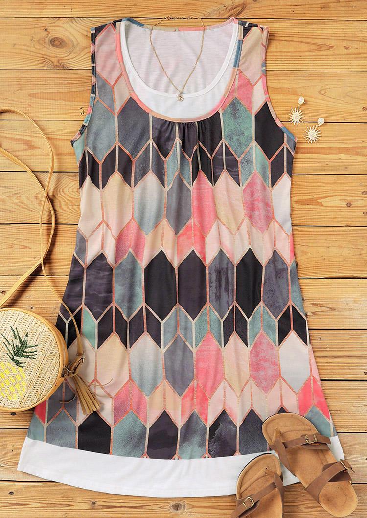 Colorful Geometric Sleeveless Fake Two-Piece Mini Dress
