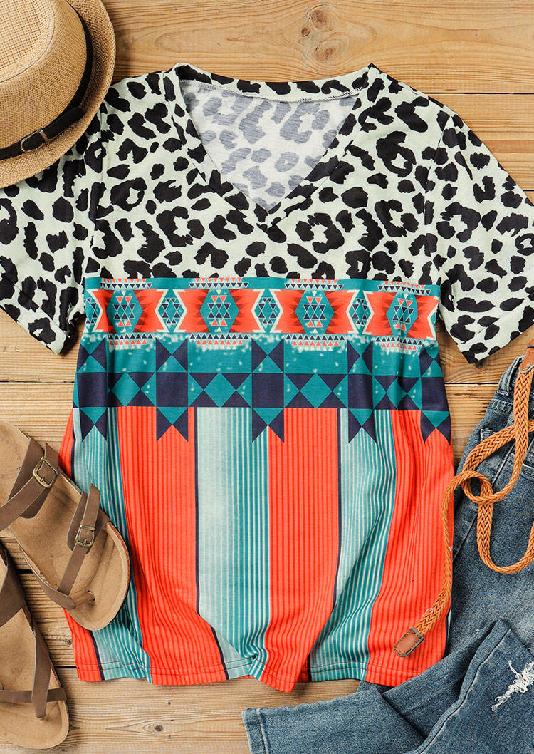 Leopard Aztec Striped Short Sleeve Blouse
