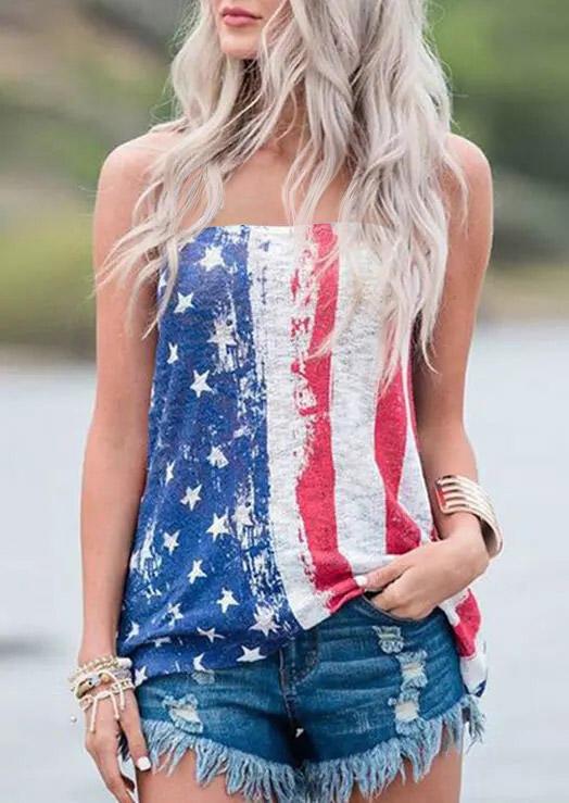 American Flag Star Striped Strapless Tank