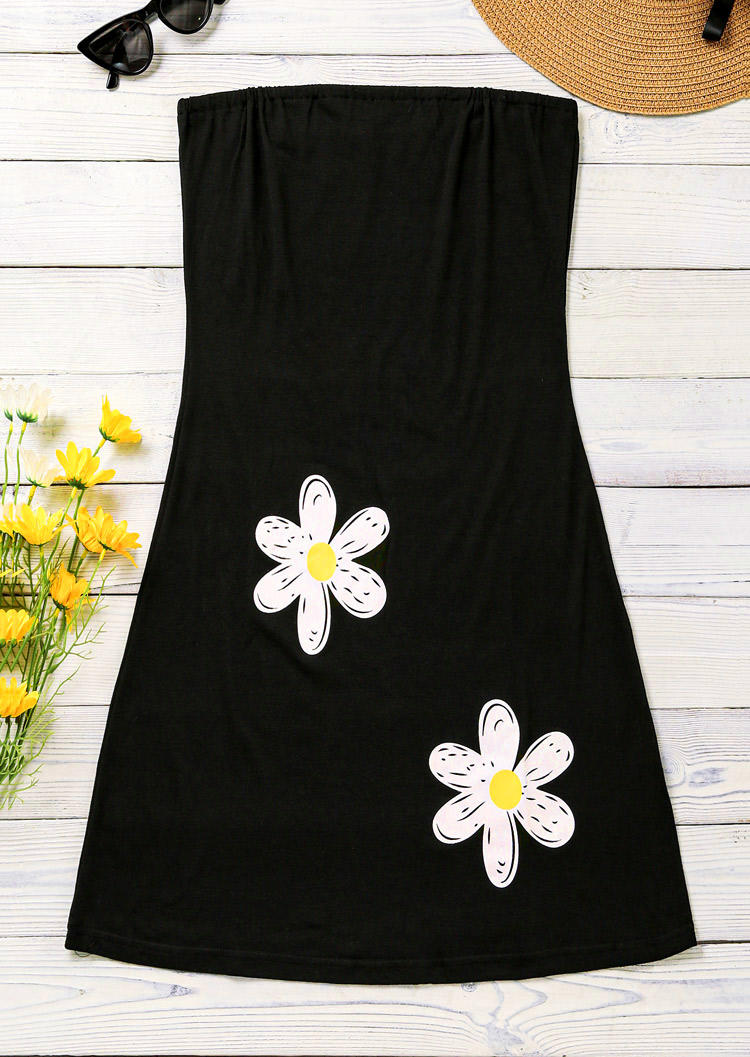 Daisy Strapless Mini Dress - Black