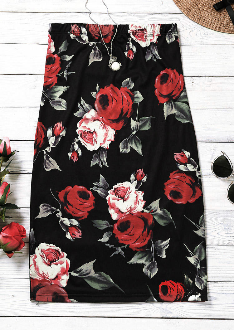 Floral Strapless Open Back Bodycon Dress