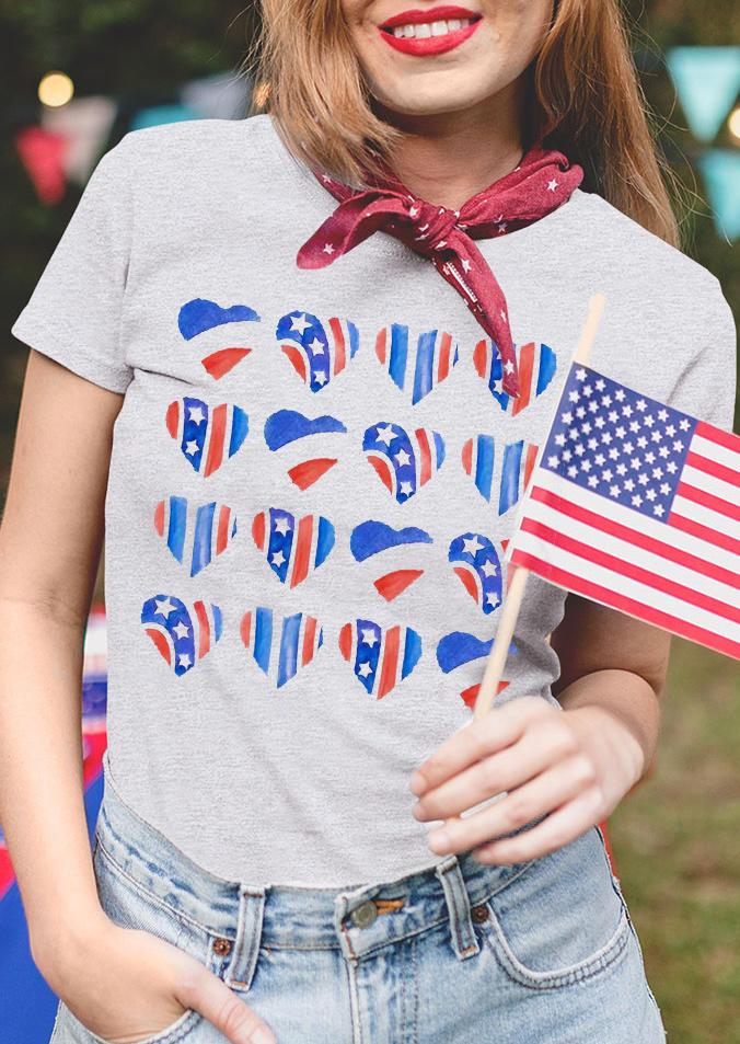 American Flag Star Heart T-Shirt Tee - Light Grey
