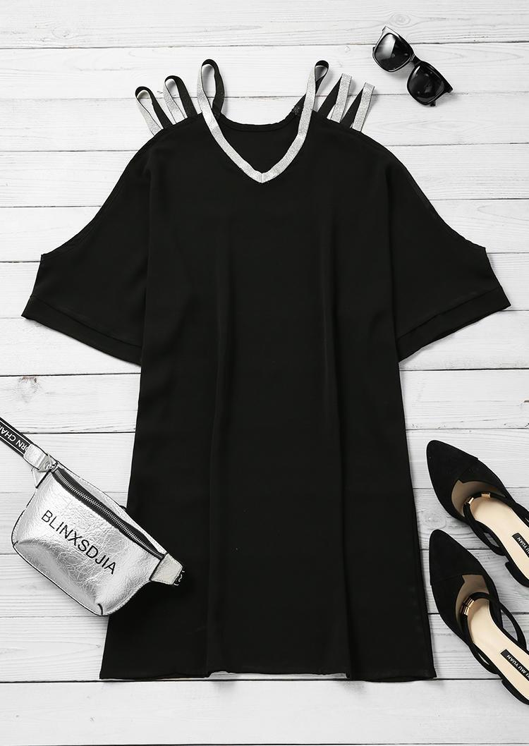 Glitter Cold Shoulder V-Neck Mini Dress - Black