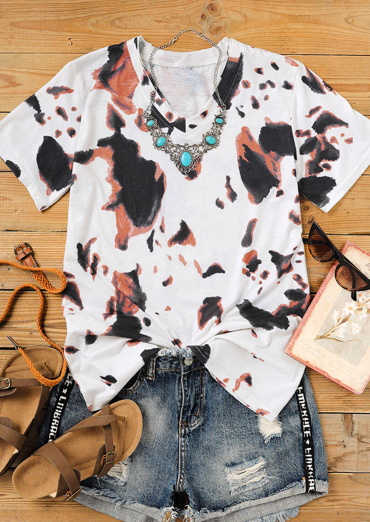 Cow Short Sleeve V-Neck Blouse