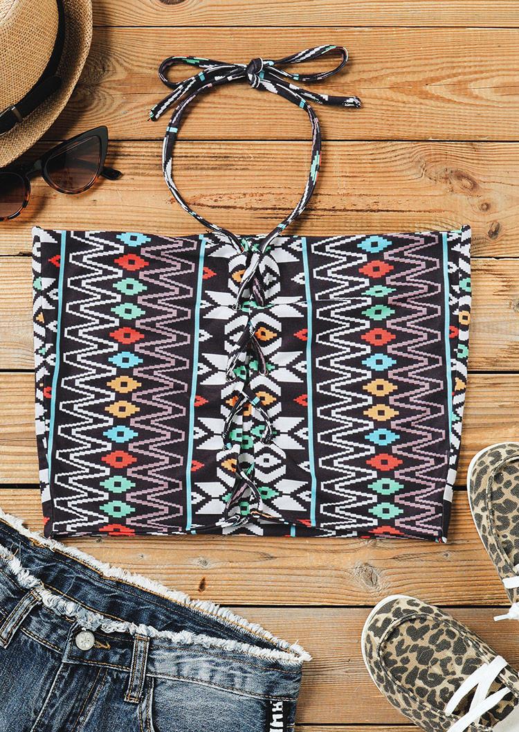 Aztec Geometric Reversible Lace Up Halter Crop Top