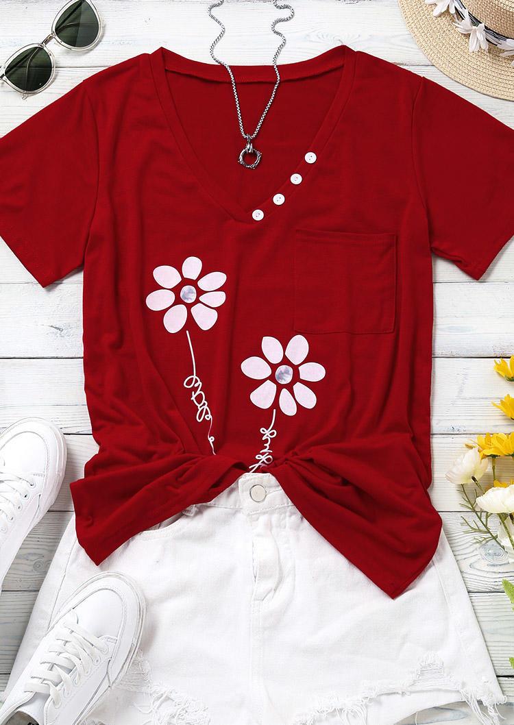 Flower Pocket Button V-Neck Blouse - Red