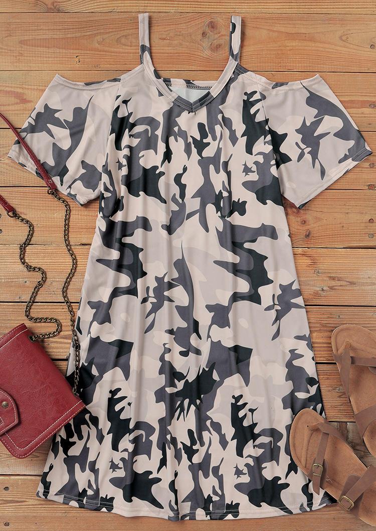 Camouflage ColdShoulder V-Neck Mini Dress