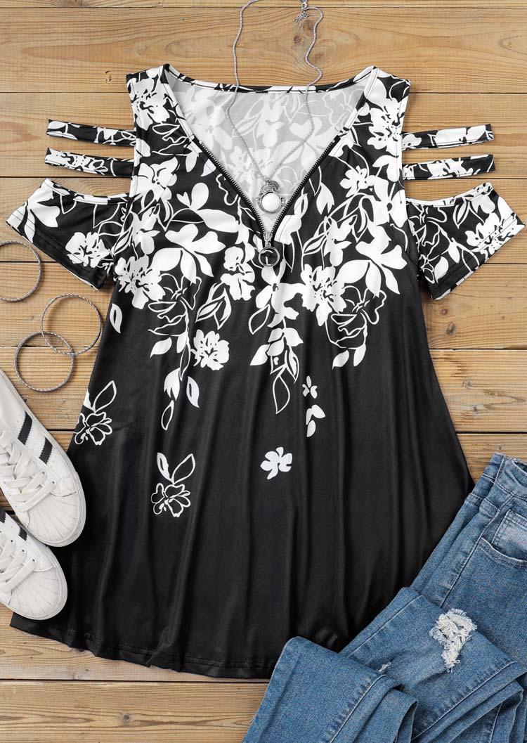Floral ColdShoulder Zipper Collar Blouse - Black