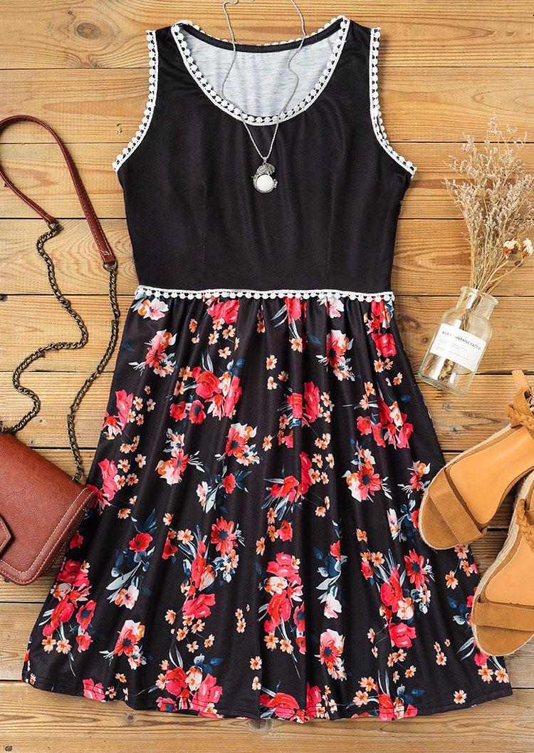 Floral Lace Splicing Ruffled O-Neck Mini Dress - Black