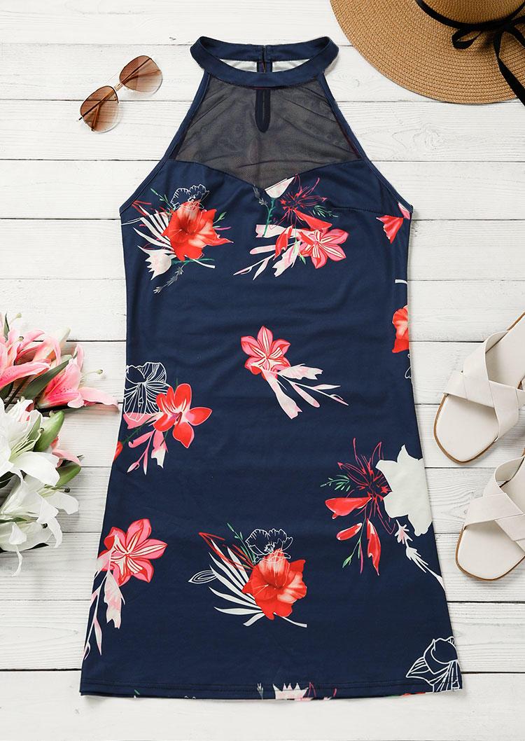 Floral Mesh Halter Button Mini Dress - Blue