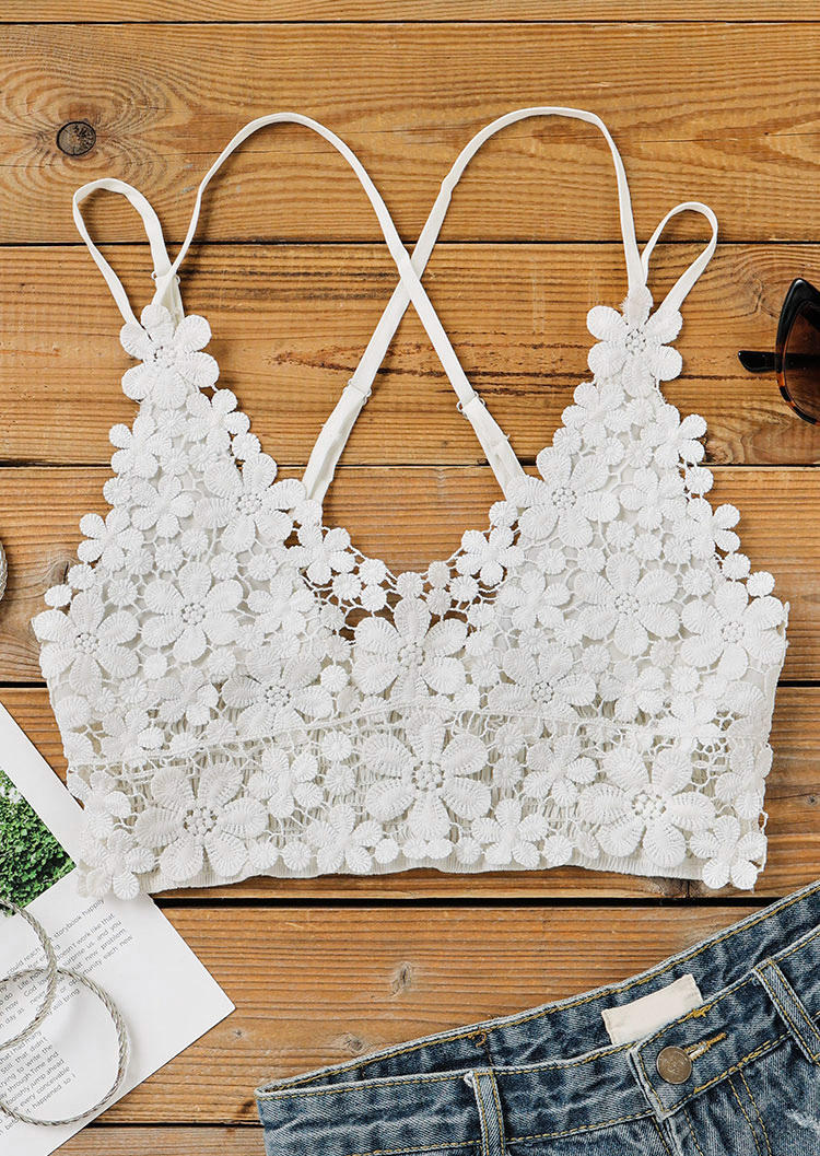 Floral Lace Splicing Adjustable Strap Crop Top - White