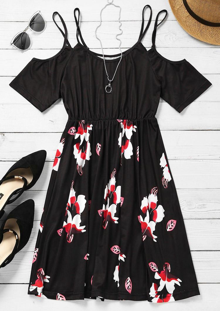 Floral Ruffled ColdShoulder Mini Dress - Black
