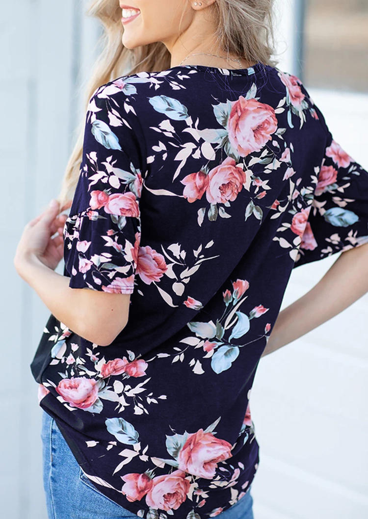 Floral Criss-Cross Flare Sleeve Casual Blouse