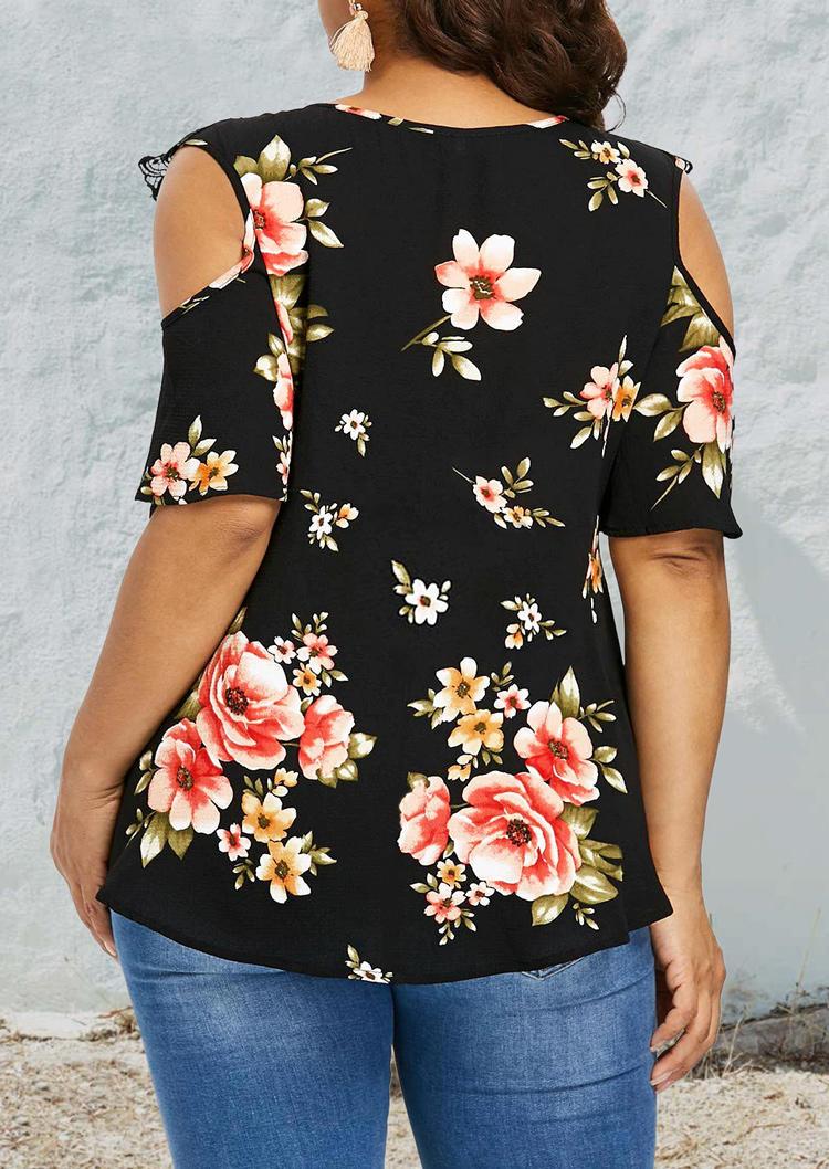 Plus Size Floral Lace Splicing Keyhole Neck Blouse - Black