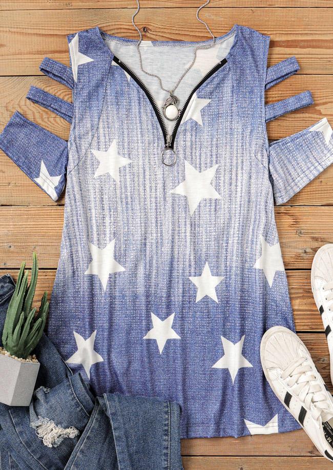 Gradient Star Zipper Collar Cold Shoulder Blouse - Blue