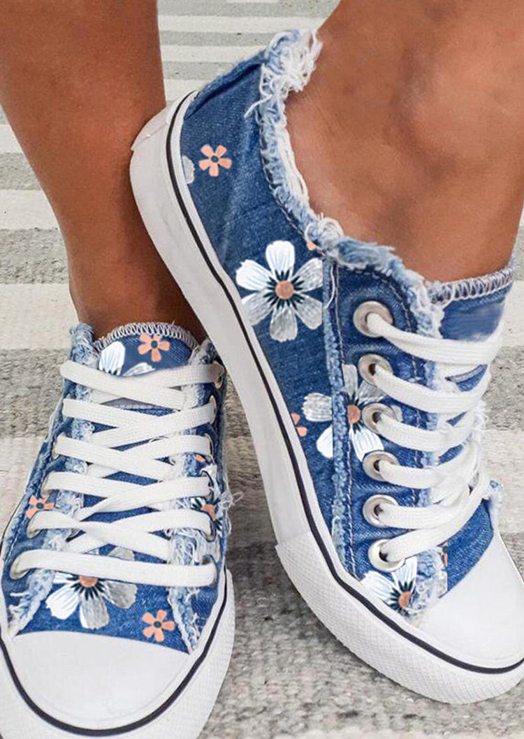 Floral Frayed Hem Lace Up Canvas Sneakers - Blue