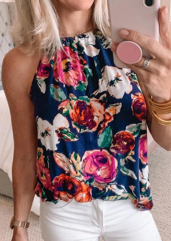 Floral Halter Sleeveless Camisole