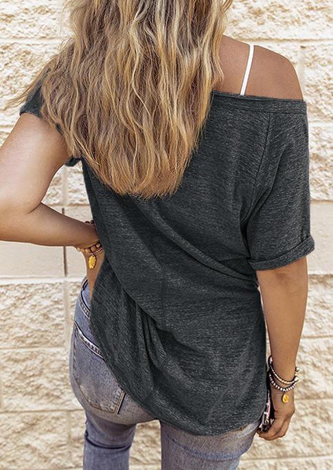 Raglan Sleeve Slit V-Neck Blouse - Black