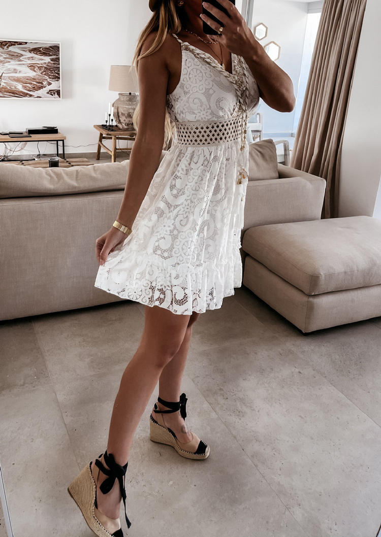 Sequined Lace Hollow Out Tassel Drawstring Mini Dress - White