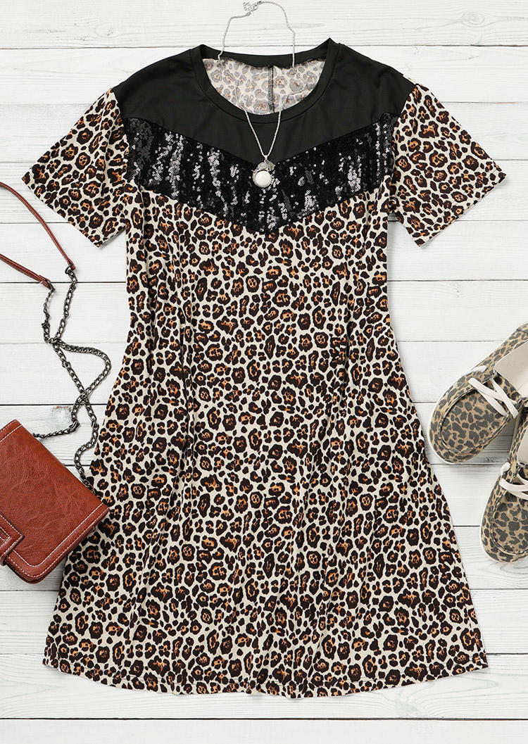 Leopard Sequined Splicing Pocket Mini Dress