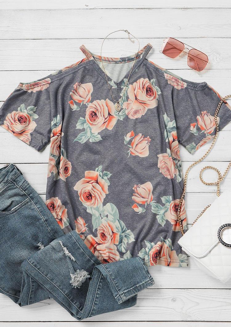 Floral V-Neck Cold Shoulder Blouse - Gray