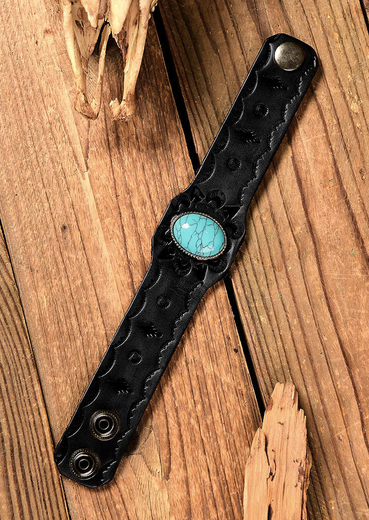 Vintage Turquoise Embossed Wide Leather Bracelet