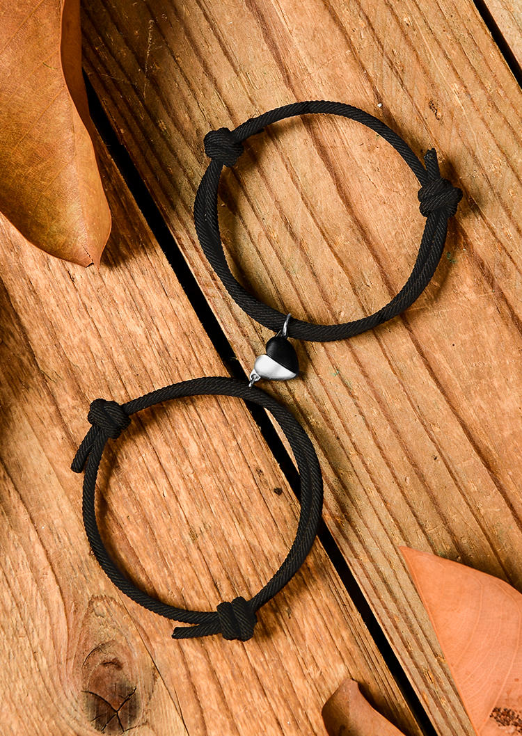 2Pcs Couples Magnetic Matching Braided Rope Heart Bracelet