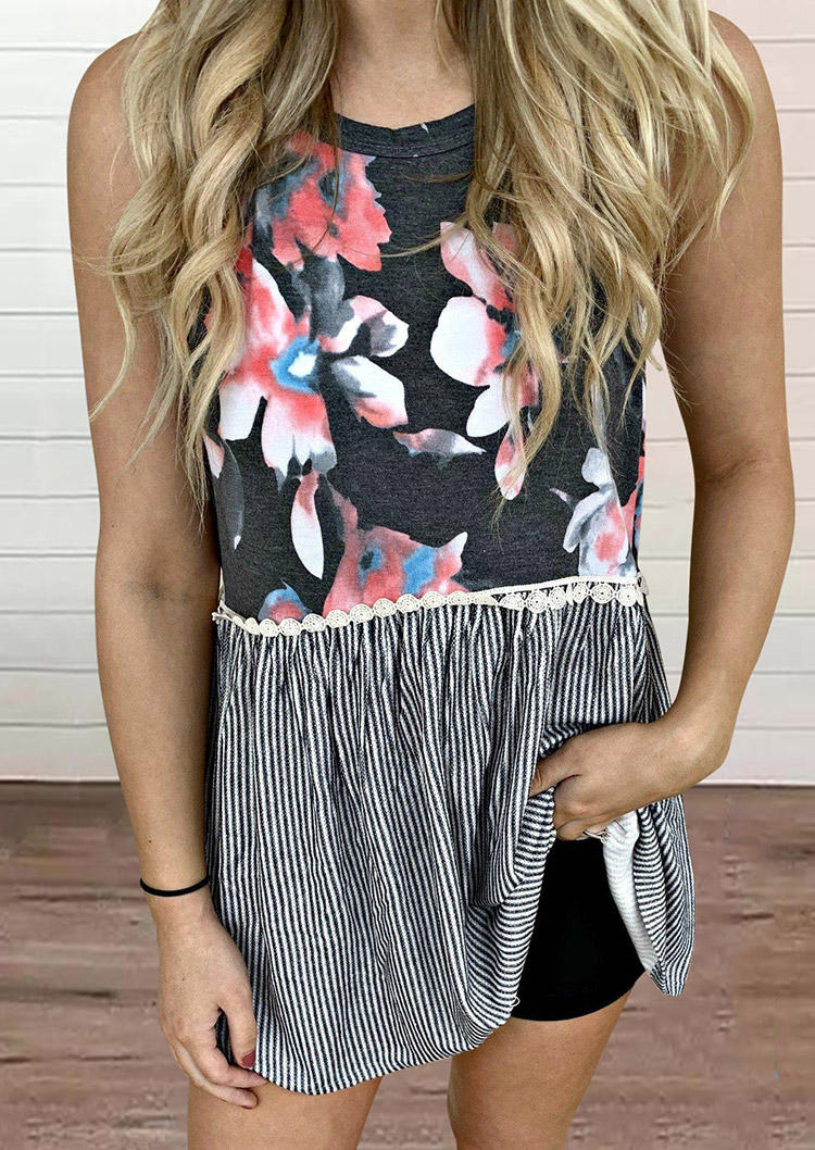 Floral Striped Ruffled Lace Splicing Tank