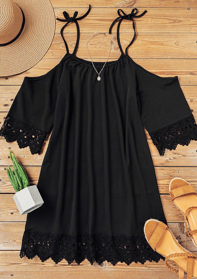 Hollow Out Lace Splicing Spaghetti Strap Tie Mini Dress - Black