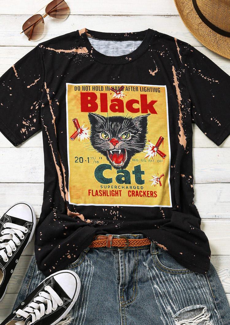 Vintage Black Cat O-Neck T-Shirt Tee - Black