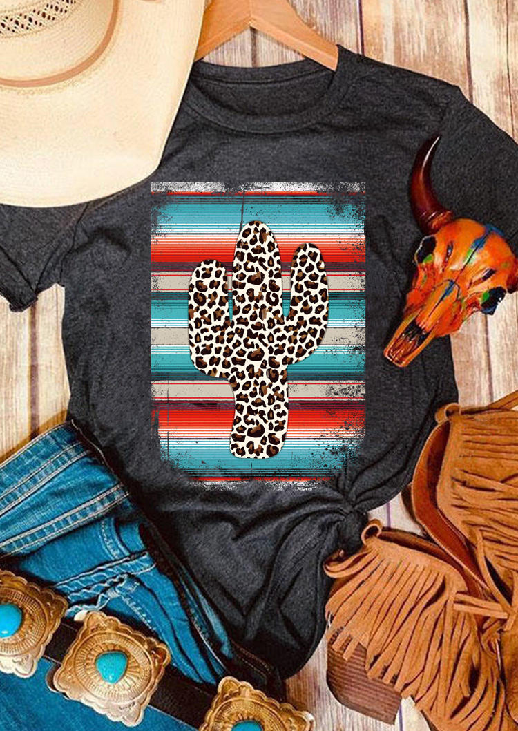 Serape Striped Leopard Cactus T-Shirt Tee - Dark Grey