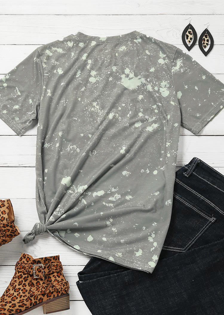 Leopard Bleached Letter Graphic T-Shirt Tee - Gray